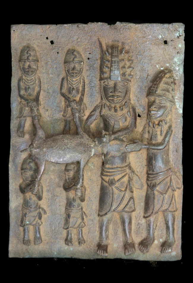 Plaque en bronze Ifé trophée buffle Yoruba Benin