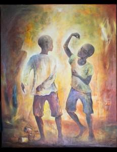 Tableau Les deux enfants Talibés Baba Ly